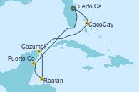 Visitando Puerto Cañaveral (Florida), CocoCay (Bahamas), Cozumel (México), Roatán (Honduras), Puerto Costa Maya (México), Puerto Cañaveral (Florida)