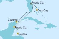 Visitando Puerto Cañaveral (Florida), CocoCay (Bahamas), Puerto Costa Maya (México), Roatán (Honduras), Cozumel (México), Puerto Cañaveral (Florida)
