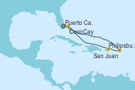 Visitando Puerto Cañaveral (Florida), Philipsburg (St. Maarten), San Juan (Puerto Rico), CocoCay (Bahamas), Puerto Cañaveral (Florida)