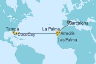 Visitando Barcelona, Arrecife (Lanzarote/España), Las Palmas de Gran Canaria (España), La Palma (Islas Canarias/España), CocoCay (Bahamas), Tampa (Florida)