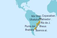 Visitando Salvador de Bahía (Brasil), Ilheus (Brasil), Río de Janeiro (Brasil), Buenos aires, Buenos aires, Punta del Este (Uruguay), Ilhabela (Brasil), Río de Janeiro (Brasil), Ilhabela (Brasil), Ubatuba (Sao Paulo), Isla Grande (Brasil), Copacabana (Brasil), Copacabana (Brasil), Salvador de Bahía (Brasil)