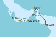 Visitando Dubai (Emiratos Árabes Unidos), Dubai (Emiratos Árabes Unidos), Jasab (Omán), Muscat (Omán), Abu Dhabi (Emiratos Árabes Unidos), Sir Bani Yas Is (Emiratos Árabes Unidos), Dubai (Emiratos Árabes Unidos)