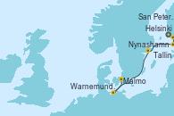 Visitando Helsinki (Finlandia), San Petersburgo (Rusia), San Petersburgo (Rusia), Tallin (Estonia), Nynashamn (Suecia), Warnemunde (Alemania), Malmo (Suecia)