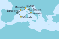 Visitando Barcelona, Palma de Mallorca (España), Civitavecchia (Roma), La Spezia, Florencia y Pisa (Italia), Savona (Italia), Marsella (Francia), Barcelona