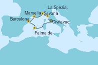 Visitando Civitavecchia (Roma), La Spezia, Florencia y Pisa (Italia), Savona (Italia), Marsella (Francia), Barcelona, Palma de Mallorca (España), Civitavecchia (Roma)