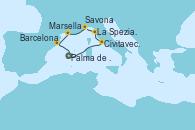 Visitando Palma de Mallorca (España), Civitavecchia (Roma), La Spezia, Florencia y Pisa (Italia), Savona (Italia), Marsella (Francia), Barcelona, Palma de Mallorca (España)