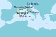 Visitando Savona (Italia), Marsella (Francia), Barcelona, Palma de Mallorca (España), Civitavecchia (Roma), La Spezia, Florencia y Pisa (Italia), Savona (Italia)