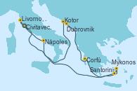 Visitando Civitavecchia (Roma), Kotor (Montenegro), Dubrovnik (Croacia), Corfú (Grecia), Santorini (Grecia), Mykonos (Grecia), Nápoles (Italia), Livorno, Pisa y Florencia (Italia), Civitavecchia (Roma)
