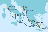 Visitando Civitavecchia (Roma), Kotor (Montenegro), Dubrovnik (Croacia), Corfú (Grecia), Santorini (Grecia), Atenas (Grecia), Mykonos (Grecia), Nápoles (Italia), Livorno, Pisa y Florencia (Italia), Civitavecchia (Roma)