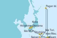 Visitando Guam (EEUU), Saipan (Islas Marinanas), Pagan Island (Islas Marianas del Norte), Islas Maug (Islas Marianas), Chichijimi Island (Japón), Isla Torishima (Japón), Hiroshima (Japón), Isla Miyajima (Japón), Okayama (Japón), Kobe (Japón)