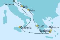 Visitando Venecia (Italia), Kotor (Montenegro), Corfú (Grecia), Santorini (Grecia), Mykonos (Grecia), Cefalonia (Grecia), Split (Croacia), Venecia (Italia)