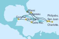 Visitando Miami (Florida/EEUU), San Juan (Puerto Rico), San Juan (Puerto Rico), Charlotte Amalie (St. Thomas), Philipsburg (St. Maarten), Nassau (Bahamas), Miami (Florida/EEUU), Ocho Ríos (Jamaica), Gran Caimán (Islas Caimán), Cozumel (México), Nassau (Bahamas), Miami (Florida/EEUU)