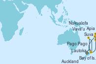 Visitando Auckland (Nueva Zelanda), Bay of Islands (Nueva Zelanda), Lautoka (Fiyi), Suva (Fiyi), Apia (Samoa), Pago Pago (Samoa), Vava'u (Tonga), Nukualofa (Tongatapu), Auckland (Nueva Zelanda)
