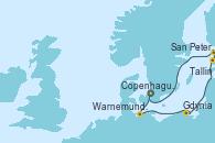 Visitando Copenhague (Dinamarca), Warnemunde (Alemania), Gdynia (Polonia), Tallin (Estonia), San Petersburgo (Rusia), San Petersburgo (Rusia), Copenhague (Dinamarca)