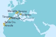 Visitando Málaga, Civitavecchia (Roma), Savona (Italia), Marsella (Francia), Arrecife (Lanzarote/España), Santa Cruz de Tenerife (España), Tánger (Marruecos), Málaga