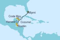 Visitando Miami (Florida/EEUU), Harvest Caye (Belize), Roatán (Honduras), Costa Maya (México), Cozumel (México), Miami (Florida/EEUU)