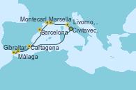 Visitando Civitavecchia (Roma), Cartagena (Murcia), Gibraltar (Inglaterra), Málaga, Barcelona, Marsella (Francia), Montecarlo (Mónaco), Livorno, Pisa y Florencia (Italia), Civitavecchia (Roma)