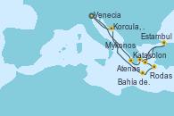 Visitando Venecia (Italia), Katakolon (Olimpia/Grecia), Atenas (Grecia), Estambul (Turquía), Estambul (Turquía), Mykonos (Grecia), Rodas (Grecia), Bahía de Souda (Grecia), Korcula, Croatia, Venecia (Italia), Venecia (Italia)
