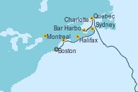 Visitando Boston (Massachusetts), Bar Harbor (Maine), Halifax (Canadá), Sydney (Nueva Escocia/Canadá), Charlottetown (Canadá), Quebec (Canadá), Montreal (Canadá)