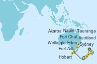 Visitando Auckland (Nueva Zelanda), Tauranga (Nueva Zelanda), Napier (Nueva Zelanda), Wellington (Nueva Zelanda), Akaroa (Nueva Zelanda), Port Chalmers (Nueva Zelanda), Hobart (Australia), Hobart (Australia), Port Arthur (Tasmania/Australia), Eden (Nueva Gales), Sydney (Australia)