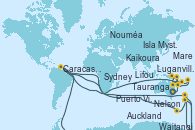 Visitando Sydney (Australia), Mare (Nueva Caledonia), Lifou (Isla Loyalty/Nueva Caledonia), Luganville (Vanuatu), Puerto Vila (Vanuatu), Isla Mystery (Vanuatu), Nouméa (Nueva Caledonia), Caracas, Venezuela, Tauranga (Nueva Zelanda), Waitangi (Islas Bay/Nueva Zelanda), Auckland (Nueva Zelanda), Waitangi (Islas Bay/Nueva Zelanda), Caracas, Venezuela, NEW PLYMOUTH, NEW ZEALAND, Nelson (Nueva Zelanda), Kaikoura (Nueva Zelanda), Akaroa (Nueva Zelanda), Wellington (Nueva Zelanda), Napier (Nueva Zelanda), Gisborne (Nueva Zelanda), Tauranga (Nueva Zelanda), Auckland (Nueva Zelanda)