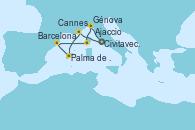 Visitando Civitavecchia (Roma), Cannes (Francia), Palma de Mallorca (España), Barcelona, Ajaccio (Córcega), Génova (Italia), Civitavecchia (Roma)