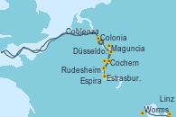 Visitando Düsseldorf (Alemania), Düsseldorf (Alemania), Colonia (Alemania), Linz (Austria), Cochem (Alemania), Coblenza (Alemania), Coblenza (Alemania), Rudesheim (Alemania), Maguncia (Alemania), Rudesheim (Alemania), Maguncia (Alemania), Worms (Alemania), Espira (Alemania), Estrasburgo (Francia)