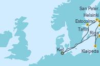 Visitando Kiel (Alemania), Estocolmo (Suecia), Helsinki (Finlandia), San Petersburgo (Rusia), San Petersburgo (Rusia), Tallin (Estonia), Klaipeda (Lituania), Riga (Letonia), Kiel (Alemania)