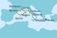 Visitando Atenas (Grecia), Giardini Naxos (Italia), Sorrento (Nápoles/Italia), Civitavecchia (Roma), Livorno, Pisa y Florencia (Italia), Montecarlo (Mónaco), Ajaccio (Córcega), Mahón (Menorca/España), Barcelona