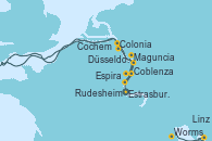Visitando Estrasburgo (Francia), Estrasburgo (Francia), Espira (Alemania), Worms (Alemania), Maguncia (Alemania), Maguncia (Alemania), Rudesheim (Alemania), Rudesheim (Alemania), Coblenza (Alemania), Coblenza (Alemania), Cochem (Alemania), Linz (Austria), Colonia (Alemania), Düsseldorf (Alemania)