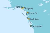 Visitando Vancouver (Canadá), Ketchikan (Alaska), Juneau (Alaska), Skagway (Alaska), Fiordo Tracy Arm (Alaska), Vancouver (Canadá)