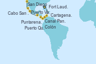 Visitando Fort Lauderdale (Florida/EEUU), Cartagena de Indias (Colombia), Colón (Panamá), Colón (Panamá), Canal Panamá, Puntarenas (Costa Rica), Puerto Quetzal (Guatemala), Puerto Vallarta (México), Cabo San Lucas (México), San Diego (California/EEUU)