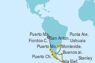 Visitando San Antonio (Chile), Puerto Montt (Chile), Puerto Chacabuco (Chile), Fiordos Chilenos, Punta Arenas (Chile), Ushuaia (Argentina), Isla Elefante (Antártida), Stanley (Malvinas), Puerto Madryn (Argentina), Montevideo (Uruguay), Buenos aires