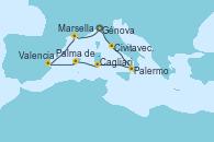 Visitando Génova (Italia), Civitavecchia (Roma), Palermo (Italia), Cagliari (Cerdeña), Palma de Mallorca (España), Valencia, Marsella (Francia), Génova (Italia)