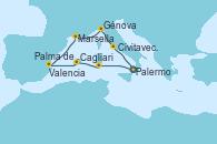 Visitando Palermo (Italia), Cagliari (Cerdeña), Palma de Mallorca (España), Valencia, Marsella (Francia), Génova (Italia), Civitavecchia (Roma), Palermo (Italia)