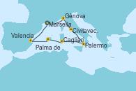 Visitando Marsella (Francia), Génova (Italia), Civitavecchia (Roma), Palermo (Italia), Cagliari (Cerdeña), Palma de Mallorca (España), Valencia, Marsella (Francia)