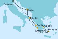Visitando Venecia (Italia), Brindisi (Italia), Katakolon (Olimpia/Grecia), Santorini (Grecia), Atenas (Grecia), Corfú (Grecia), Kotor (Montenegro), Venecia (Italia)
