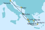 Visitando Brindisi (Italia), Katakolon (Olimpia/Grecia), Santorini (Grecia), Atenas (Grecia), Corfú (Grecia), Kotor (Montenegro), Venecia (Italia), Brindisi (Italia)