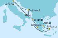 Visitando Bari (Italia), Katakolon (Olimpia/Grecia), Mykonos (Grecia), Atenas (Grecia), Sarande (Albania), Dubrovnik (Croacia), Venecia (Italia), Bari (Italia)