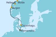 Visitando Warnemunde (Alemania), Bergen (Noruega), Molde (Noruega), Hellesylt (Noruega), Copenhague (Dinamarca), Warnemunde (Alemania)