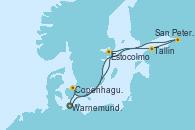 Visitando Warnemunde (Alemania), Estocolmo (Suecia), Tallin (Estonia), San Petersburgo (Rusia), Copenhague (Dinamarca), Warnemunde (Alemania)