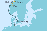 Visitando Copenhague (Dinamarca), Hellesylt (Noruega), Aalesund (Noruega), Flam (Noruega), Kiel (Alemania), Copenhague (Dinamarca)
