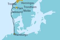 Visitando Hamburgo (Alemania), Aalesund (Noruega), Honningsvag (Noruega), Honningsvag (Noruega), Tromso (Noruega), Trondheim (Noruega), Molde (Noruega), Flam (Noruega), Hamburgo (Alemania)