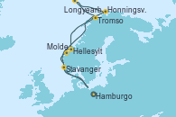 Visitando Hamburgo (Alemania), Molde (Noruega), Tromso (Noruega), Longyearbyen (Noruega), Honningsvag (Noruega), Honningsvag (Noruega), Hellesylt (Noruega), Stavanger (Noruega), Hamburgo (Alemania)