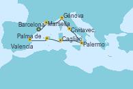 Visitando Barcelona, Marsella (Francia), Génova (Italia), Civitavecchia (Roma), Palermo (Italia), Cagliari (Cerdeña), Palma de Mallorca (España), Valencia