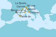 Visitando Barcelona, Ajaccio (Córcega), Génova (Italia), La Spezia, Florencia y Pisa (Italia), Civitavecchia (Roma), Cannes (Francia), Palma de Mallorca (España), Barcelona