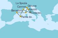 Visitando Civitavecchia (Roma), Cannes (Francia), Palma de Mallorca (España), Barcelona, Ajaccio (Córcega), Génova (Italia), La Spezia, Florencia y Pisa (Italia), Civitavecchia (Roma)