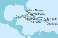 Visitando Miami (Florida/EEUU), San Juan (Puerto Rico), San Juan (Puerto Rico), Charlotte Amalie (St. Thomas), Nassau (Bahamas), Ocean Cay MSC Marine Reserve (Bahamas), Miami (Florida/EEUU), Ocho Ríos (Jamaica), Gran Caimán (Islas Caimán), Cozumel (México), Ocean Cay MSC Marine Reserve (Bahamas), Miami (Florida/EEUU)