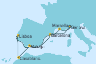 Visitando Génova (Italia), Málaga, Casablanca (Marruecos), Lisboa (Portugal), Barcelona, Marsella (Francia), Génova (Italia)