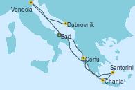 Visitando Bari (Italia), Santorini (Grecia), Chania (Creta/Grecia), Corfú (Grecia), Dubrovnik (Croacia), Venecia (Italia), Bari (Italia)